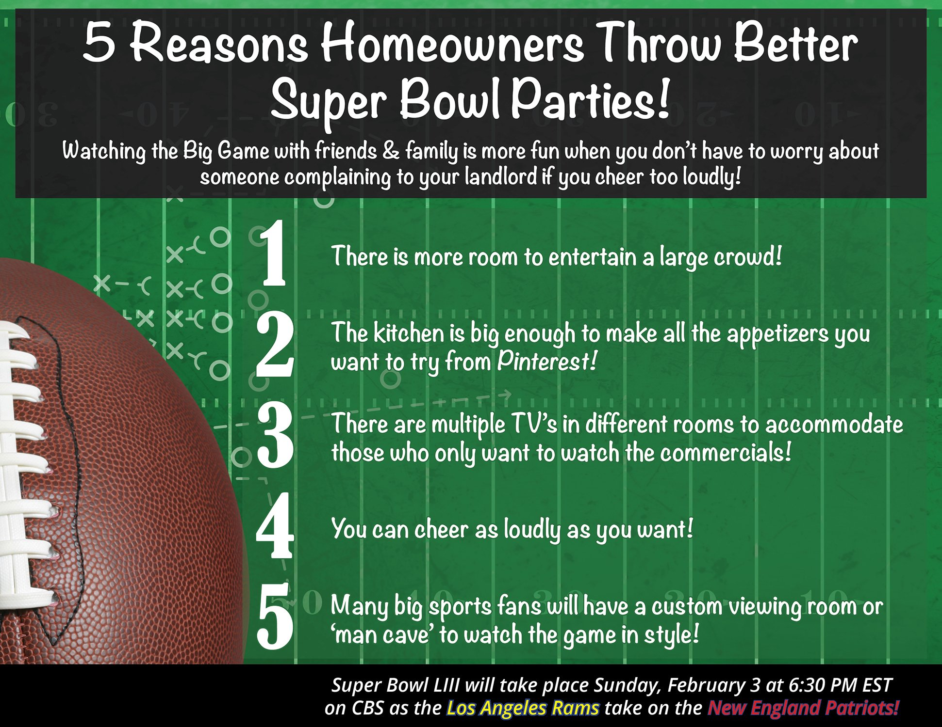 5 Reasons Homeowners Throw the Best Super Bowl Parties! [INFOGRAPHIC] | Simplifying The Market